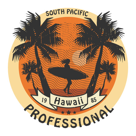 Abstract Hawaii surfer sign Vector