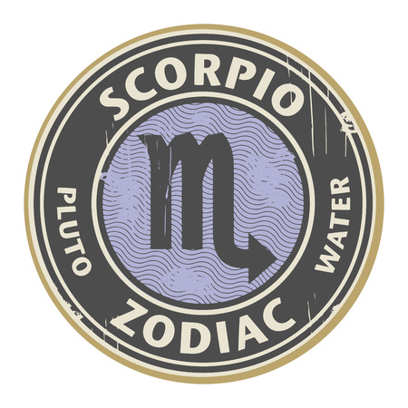 Abstract grunge rubber stamp with the Zodiac Scorpio symbol horoscope Vector