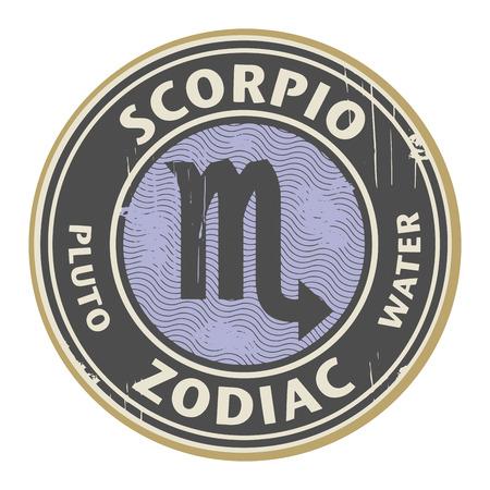escorpio: Grunge sello de goma con el símbolo zodiacal Escorpio horóscopo Vectores