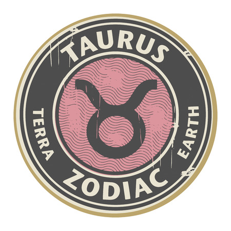 fortunetelling: Abstract grunge rubber stamp with the Zodiac Taurus symbol horoscope