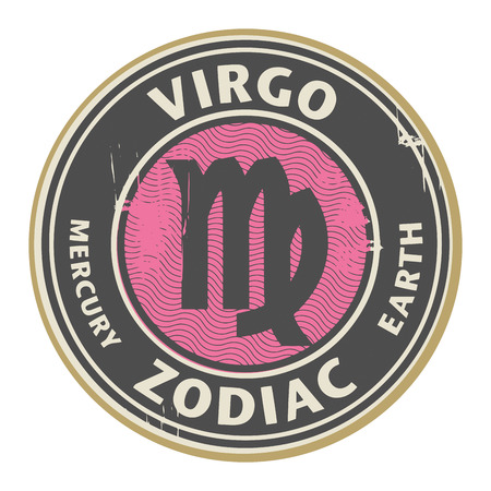 Abstract grunge rubber stamp with the Zodiac Virgo symbol horoscope