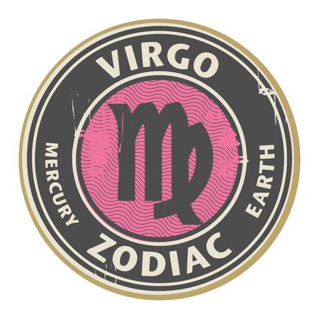 Abstract grunge rubber stempel met de Maagd symbool horoscoop