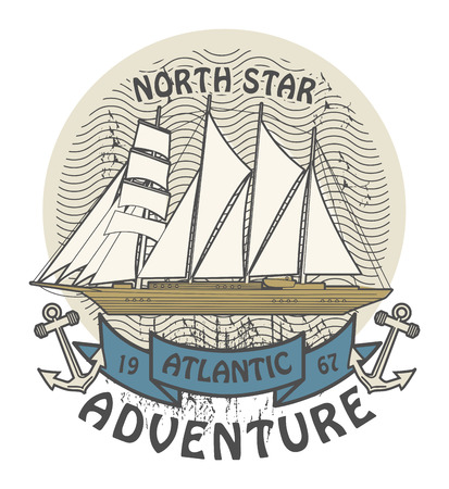 atlantic: Grunge rubber stamp with the words Atlantic Adventure written inside the stamp Illustration