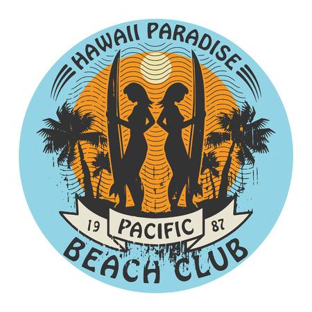 抽象的なハワイのサーファーのクラブ記号