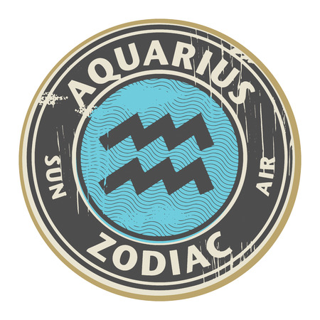 aquarius: Abstract grunge rubber stamp with the Zodiac Aquarius symbol horoscope Illustration
