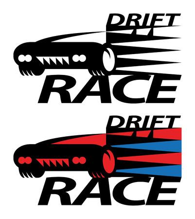 uncontrolled: Drift race sign or symbol Illustration