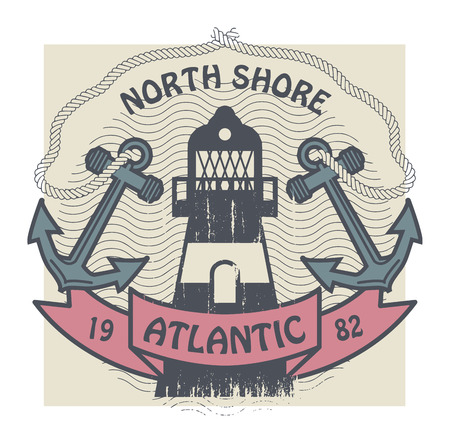 Grunge stamp or label with lighthouse and the words North Shore, Atlantic, written inside Vector