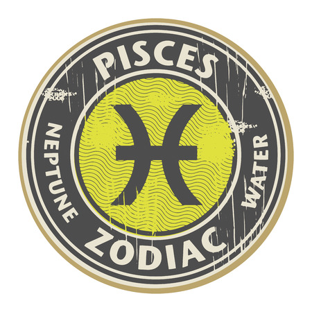 fortunetelling: Abstract grunge rubber stamp with the Zodiac Pisces symbol horoscope Illustration