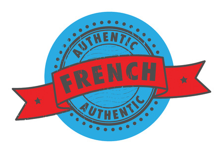 office product: Grunge rubber stamp with the text Authentic French written inside the stamp