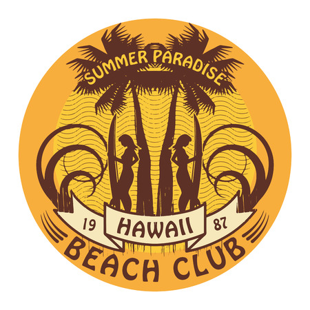 Abstract Hawaii surfer club sign Vector