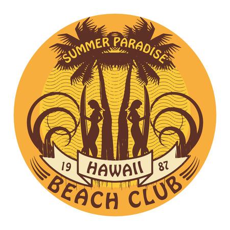 surf girl: Abstract Hawaii surfer club sign Illustration