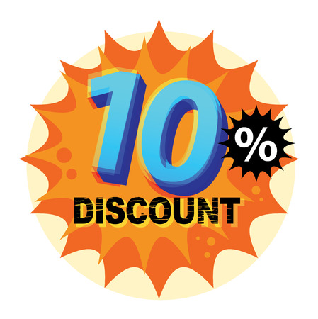 Abstract label or sticker with the text 10 percent Discount, written inside Vector