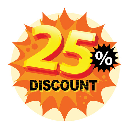 sale off: Abstract label or sticker with the text 25 percent Discount, written inside Illustration