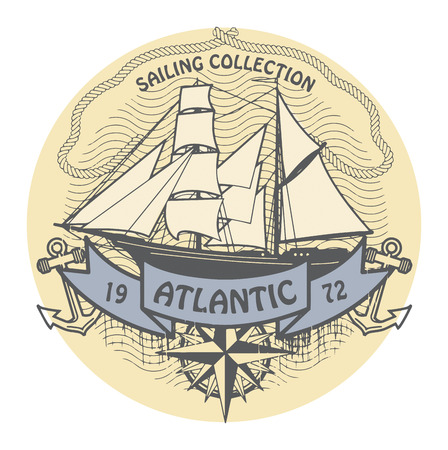 Grunge rubber stamp with the words Atlantic Sailing written inside the stamp Vector