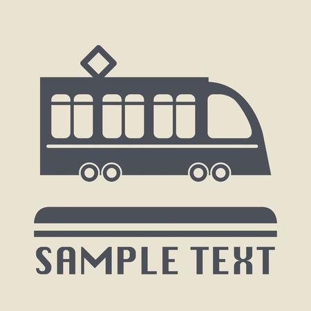 tramway: Icona di tram o di segno Vettoriali