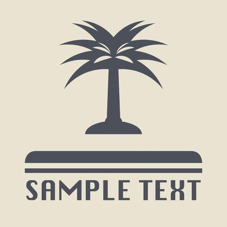 lone tree: Palm tree icon or sign