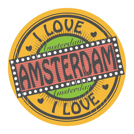 Grunge color stamp with text I Love Amsterdam inside Vector
