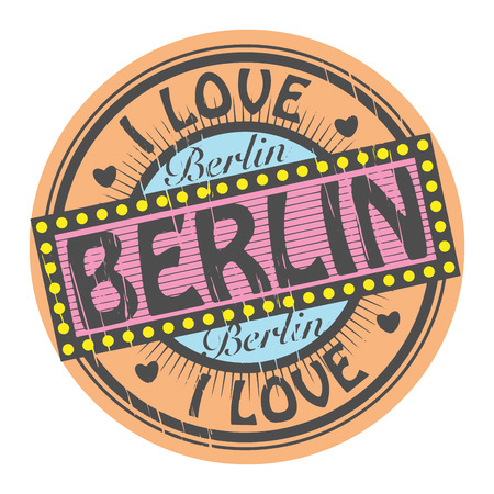 Grunge color stamp with text I Love Berlin inside Vector