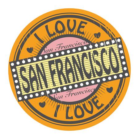 グランジ色はマイク愛 San Francisco の内側テキスト スタンプします。