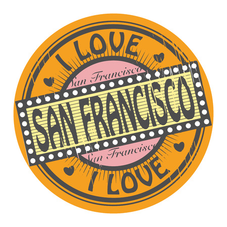 Grunge color stamp with text I Love San Francisco inside Vector