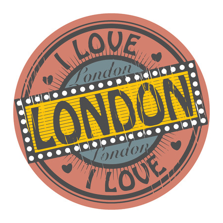 Grunge color stamp with text I Love London inside Vector