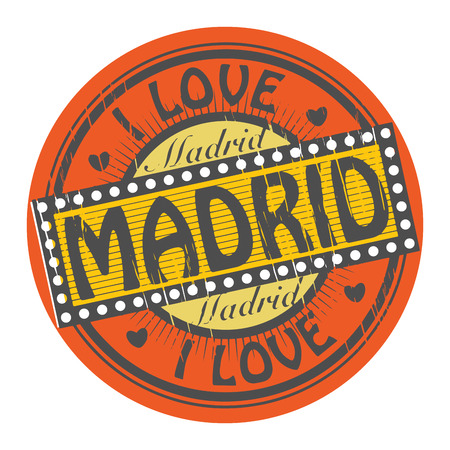Grunge color stamp with text I Love Madrid inside Vector