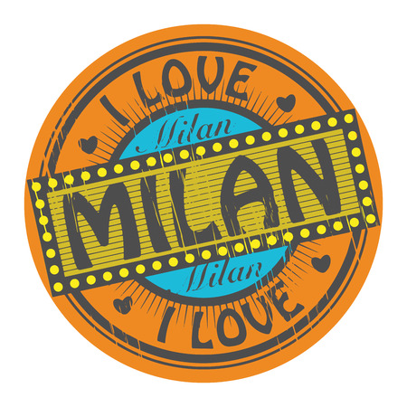 Grunge color stamp with text I Love Milan inside Vector