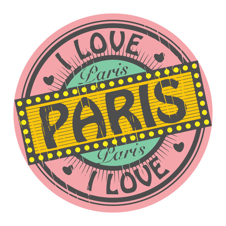 Grunge color stamp with text I Love Paris inside Vector