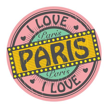 timbre voyage: Grunge tampon de couleur avec le texte I Love Paris à l'intérieur