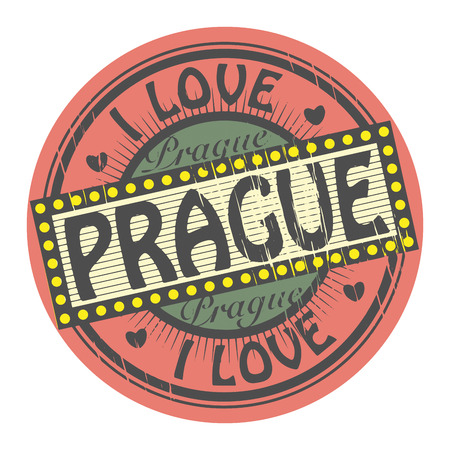 european culture: Grunge color stamp with text I Love Prague inside