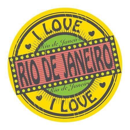 brazil symbol: Grunge color stamp with text I Love Rio de Janeiro inside
