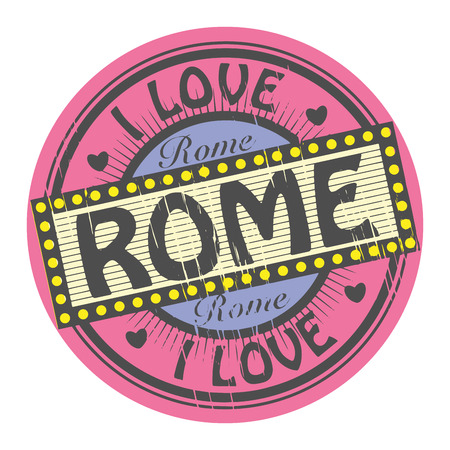 Grunge color stamp with text I Love Rome inside Vector