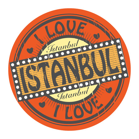 Grunge color stamp with text I Love Istanbul inside Ilustrace