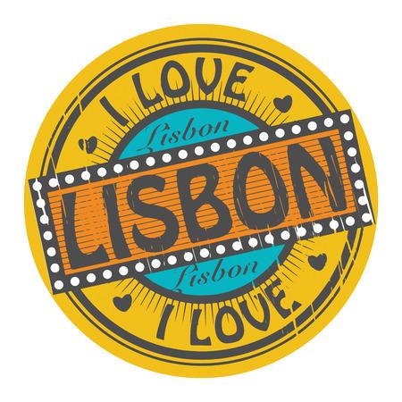 lisboa: Grunge color stamp with text I Love Lisbon inside