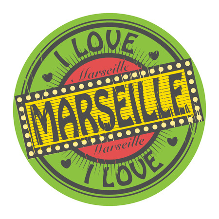 Grunge color stamp with text I Love Marseille inside Vector