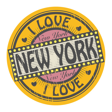 Grunge color stamp with text I Love New York inside Ilustrace