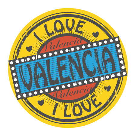 valencia: Grunge color stamp with text I Love Valencia inside