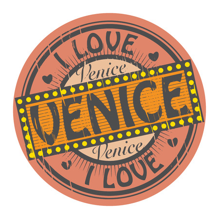 Grunge color stamp with text I Love Venice inside Vector