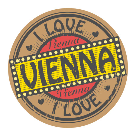 Grunge color stamp with text I Love Vienna inside Vector