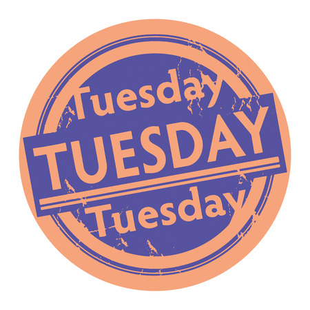 tuesday: Grunge rubber stamp with the text Tuesday written inside the stamp Illustration