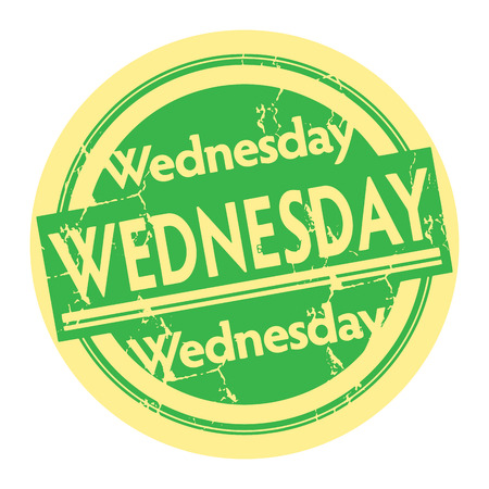 wednesday: Grunge rubber stamp with the text Wednesday written inside the stamp Illustration