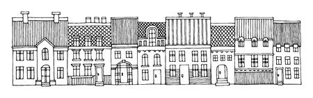 city alley: Cartoon house, hand drawn