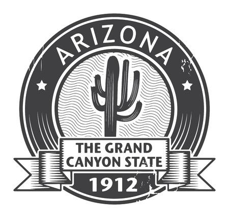 arizona: Grunge rubber stamp with name of Arizona