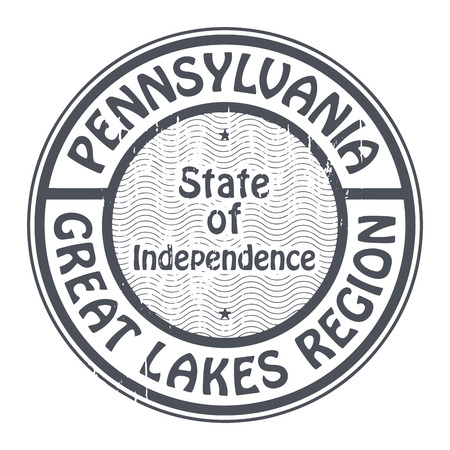 great lakes: Grunge rubber stamp with name of Pennsylvania, Great lakes region