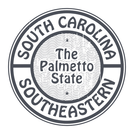 palmetto: Grunge rubber stamp with name of South Carolina, Southeastern