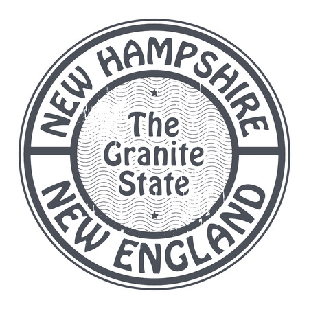 new england: Grunge rubber stamp with name of New Hampshire, New England