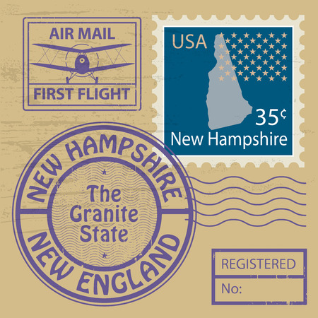 Grunge rubber stamp with name of New Hampshire Vector
