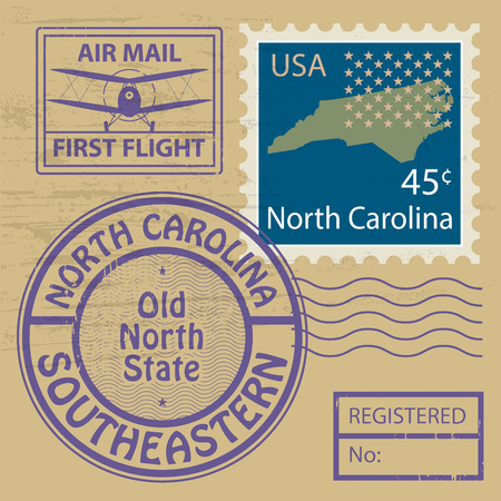 Grunge rubber stamp set with name of North Carolina Vector