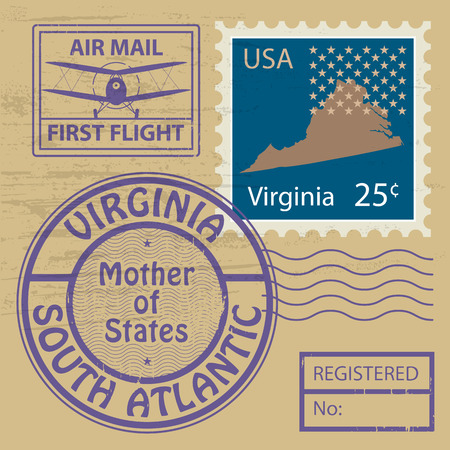 Grunge rubber stamp set with name of Virginia Vector