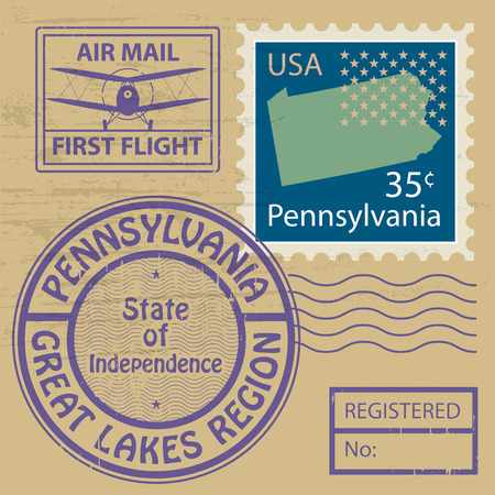 the great lakes: Grunge rubber stamp set with name of Pennsylvania Illustration